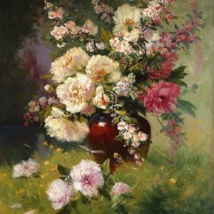 vase de terre fleuri oeuvre originale de Daniel Trammer