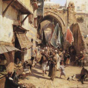 Scène de rue de Jaffa oeuvre de Daniel Trammer