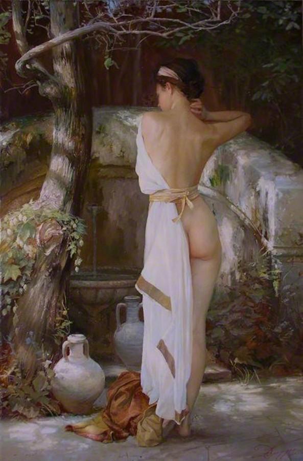 Portrait de la fille a la fontaine oeuvre de Daniel Trammer