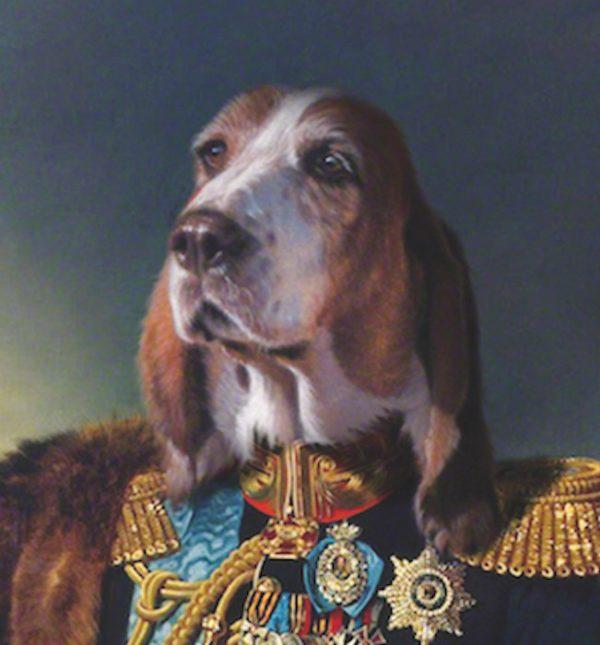 Portrait de chien bassethound en officier
