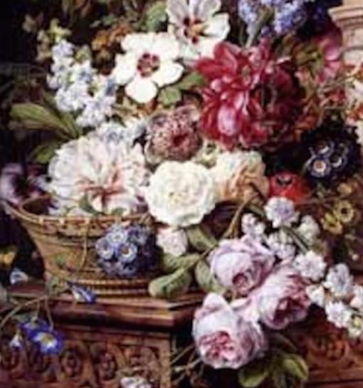 Bouquet de fleurs sur marbre oeuvre originale de Daniel Trammer