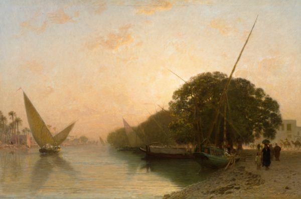 Paysage oriental vue sur le Nil 70x55 cm,, (Oeuvre unique ) !