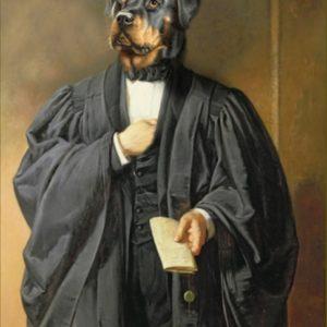 Portrait de Rottweiler en avocat oeuvre de Daniel Trammer