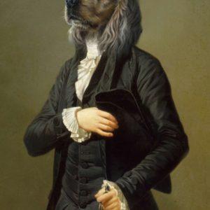 Portrait de tête de chien golden oeuvre de Daniel Trammer