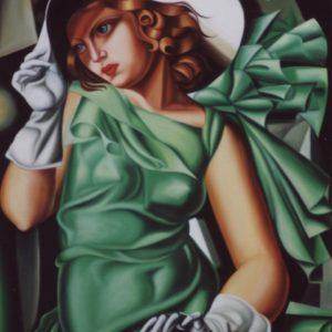 Femmes en robe verte oeuvre de Daniel Trammer