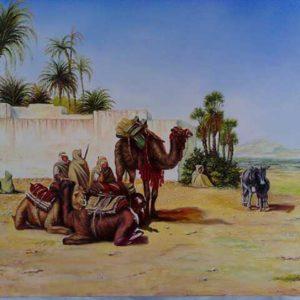 Paysage oriental Oasis 50x60 cm, (Oeuvre unique ) !