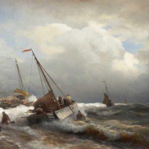Le débarquement en mer agitée 70x50 Cm Daniel Trammer art Made in Belgium